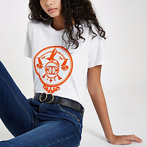 White orange print short sleeve T-shirt