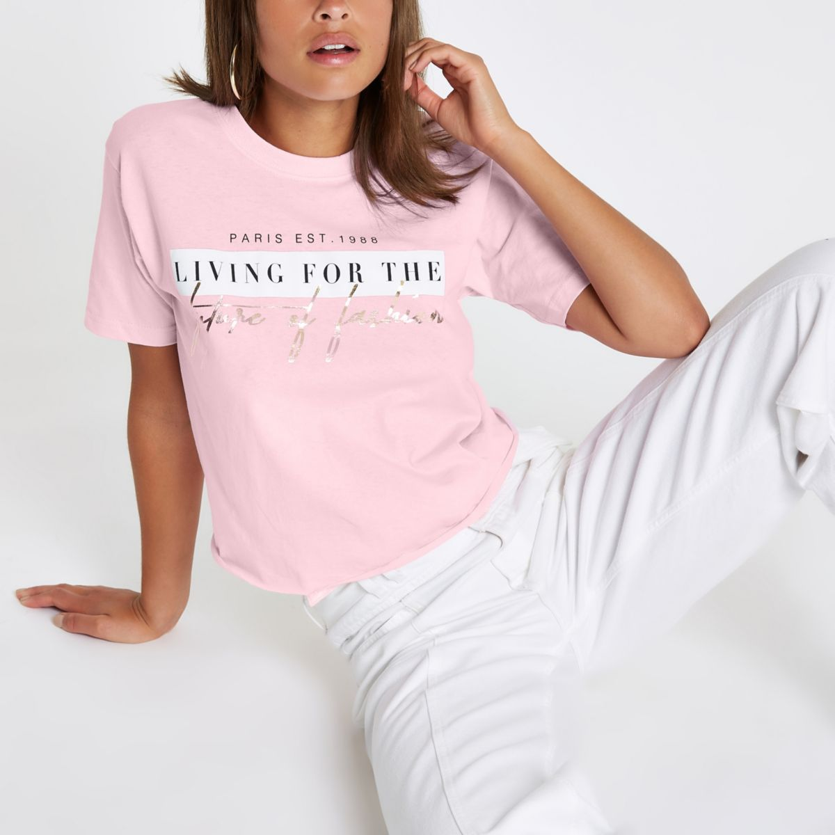 Pink 'future of fashion' boyfriend T-shirt