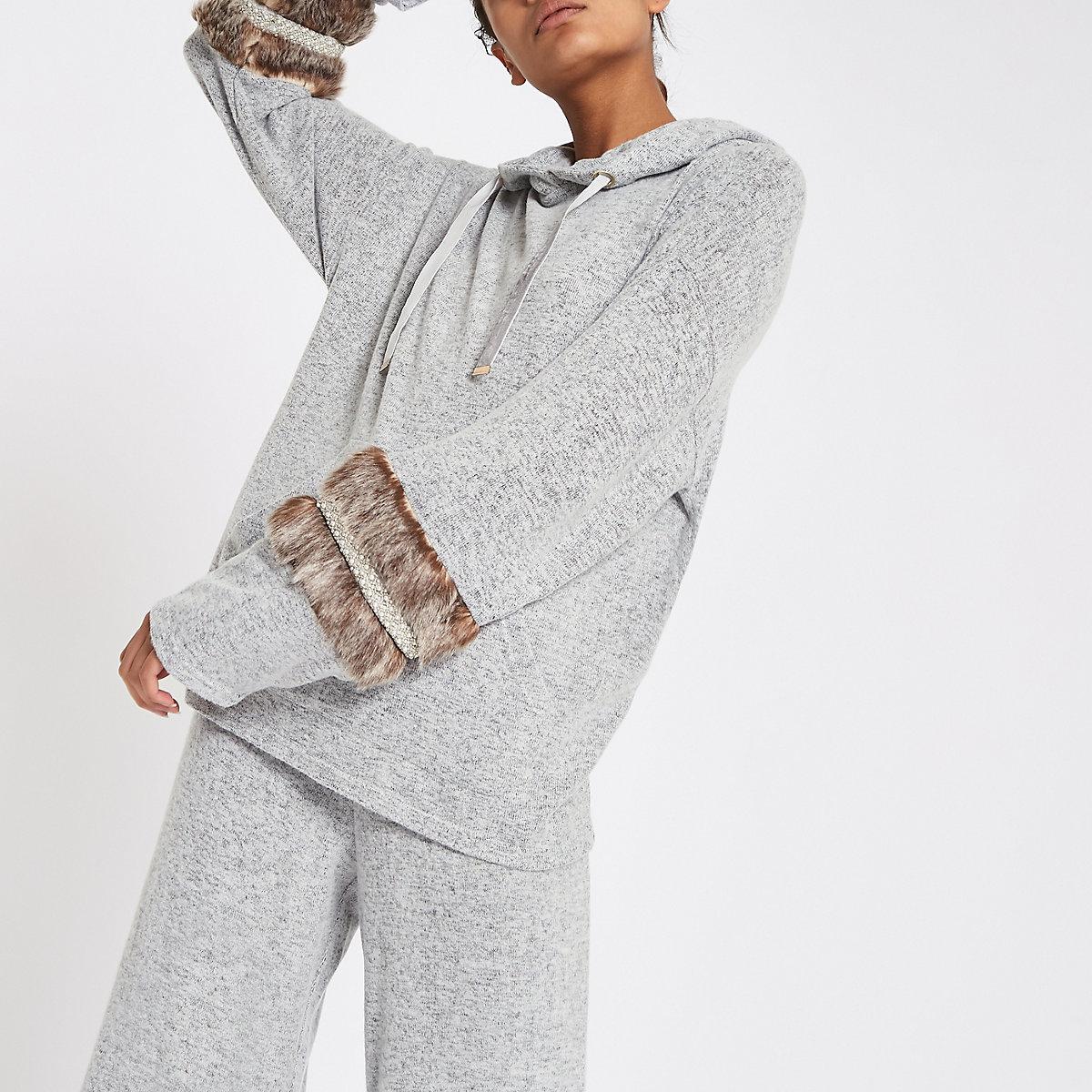 Grey faux fur trim hoodie