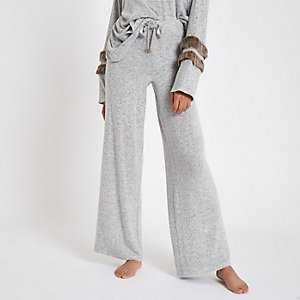 Grey soft jersey wide leg trousers