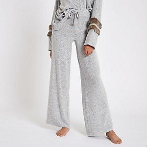 Pantalon large en jersey doux gris