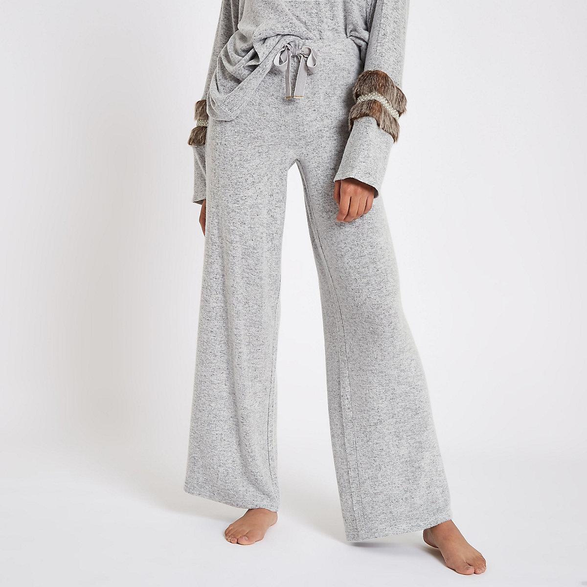 Grey soft jersey wide leg pants