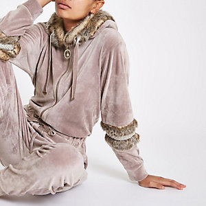 Light purple velour faux fur trim jumpsuit