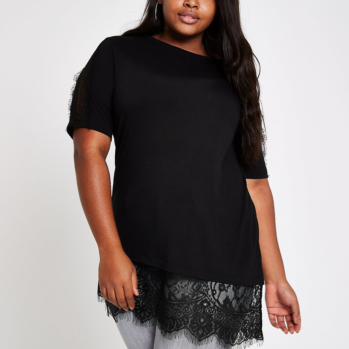 Plus black lace short sleeve T-shirt