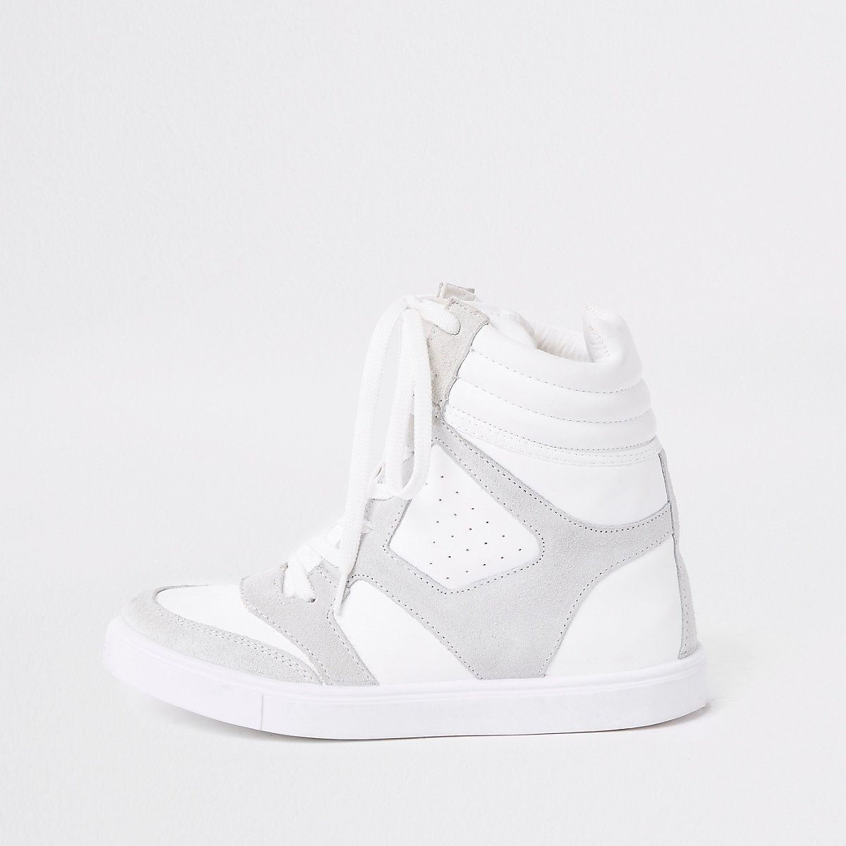 White hidden wedge high top sneakers