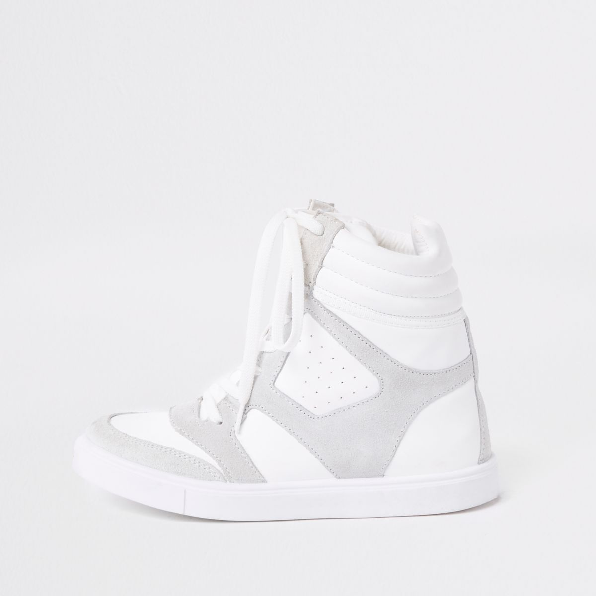 White hidden wedge high top trainers