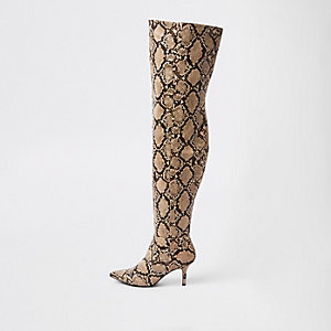 Beige, kniehohe Stiefel in Schlangenlederoptik