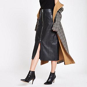 RI Studio – Jupe mi-longue en cuir noire zippée sur le devant