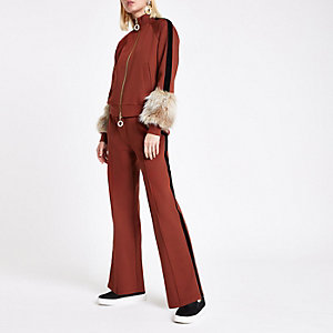 RI Studio rust velvet tape tracksuit bottoms