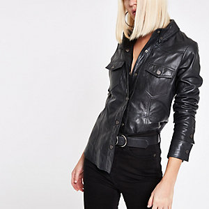 RI Studio black leather popper front shirt