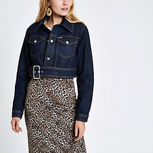 Dark blue denim buckle hem cropped jacket