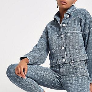 Blaue Jeansjacke mit RI-Monogramm