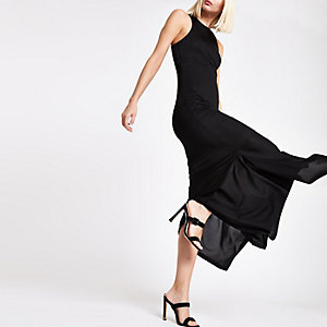 Black ribbed cut out jersey dress