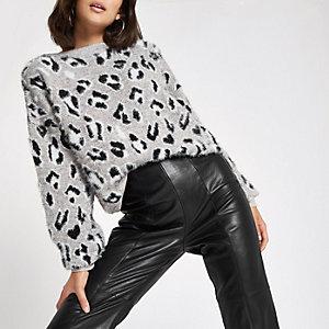 Pull en maille imprimé léopard blanc