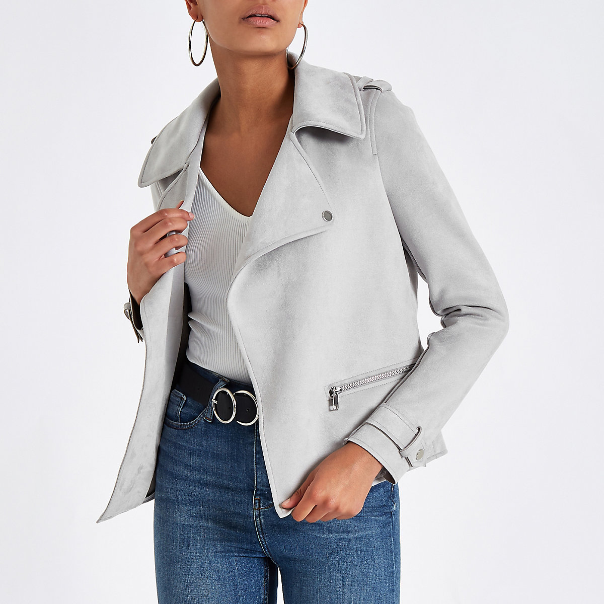Light grey suede popper front zip jacket