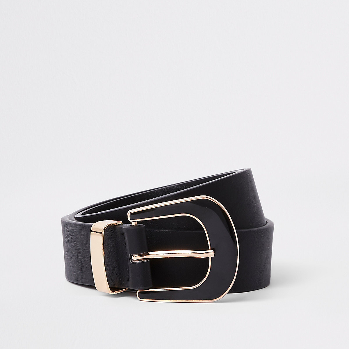 Black enamel buckle jeans belt