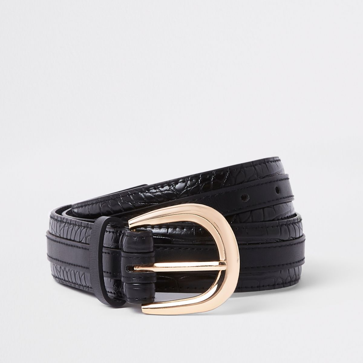 Black croc layered waist and jeans belt