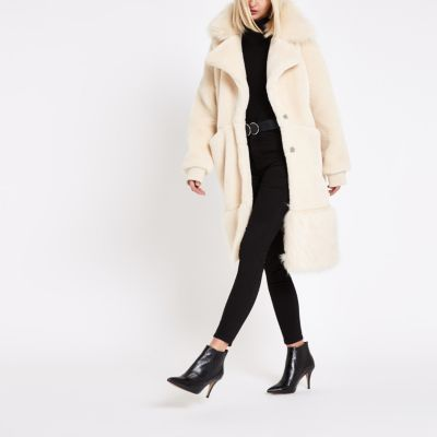Ri Studio Cream Faux Fur Collar Teddy Coat by River Island