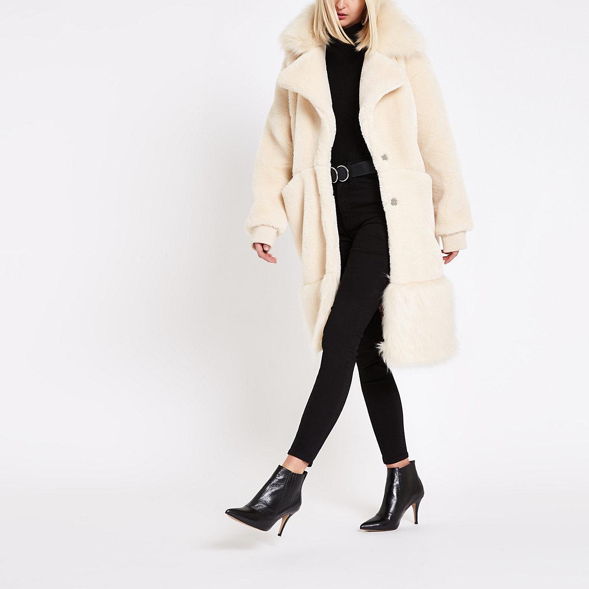RI Studio cream faux fur collar teddy coat