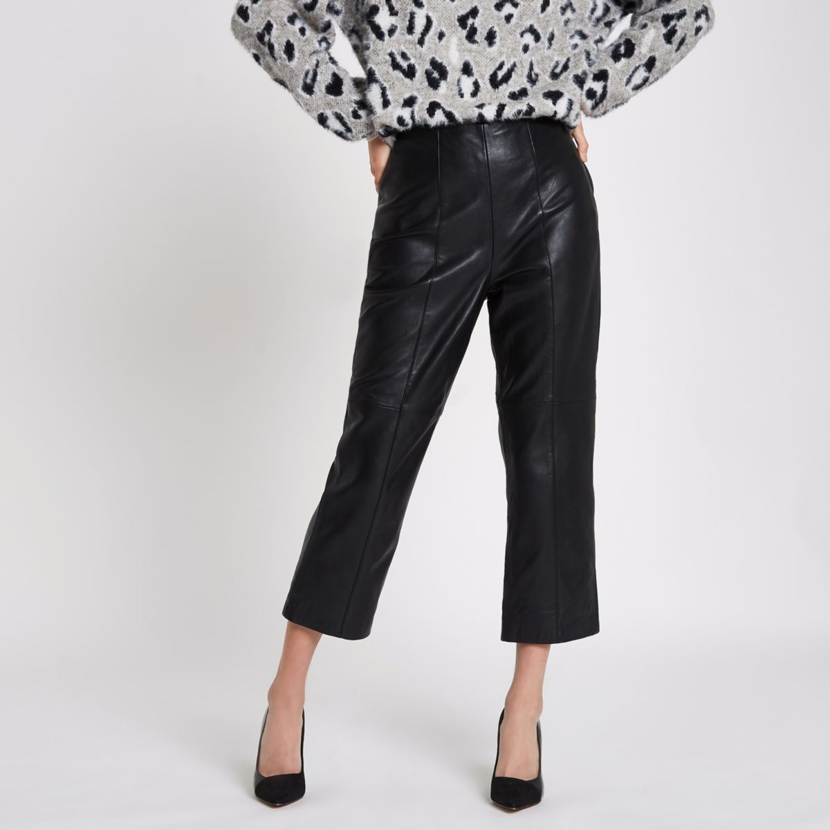 Black leather flared cropped trousers