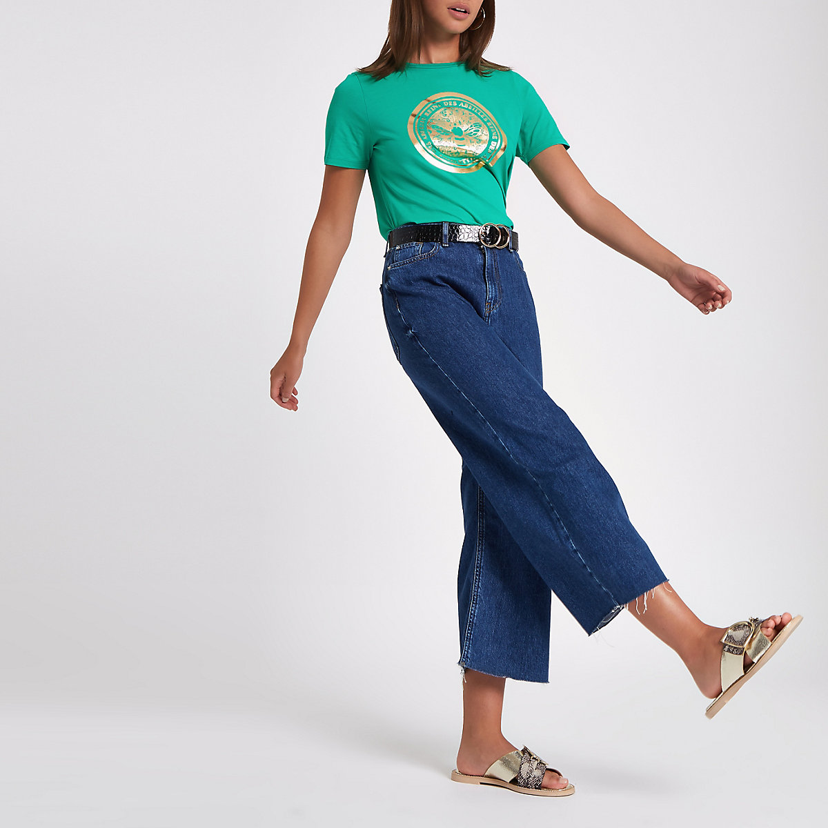 Green bee foil print fitted T-shirt