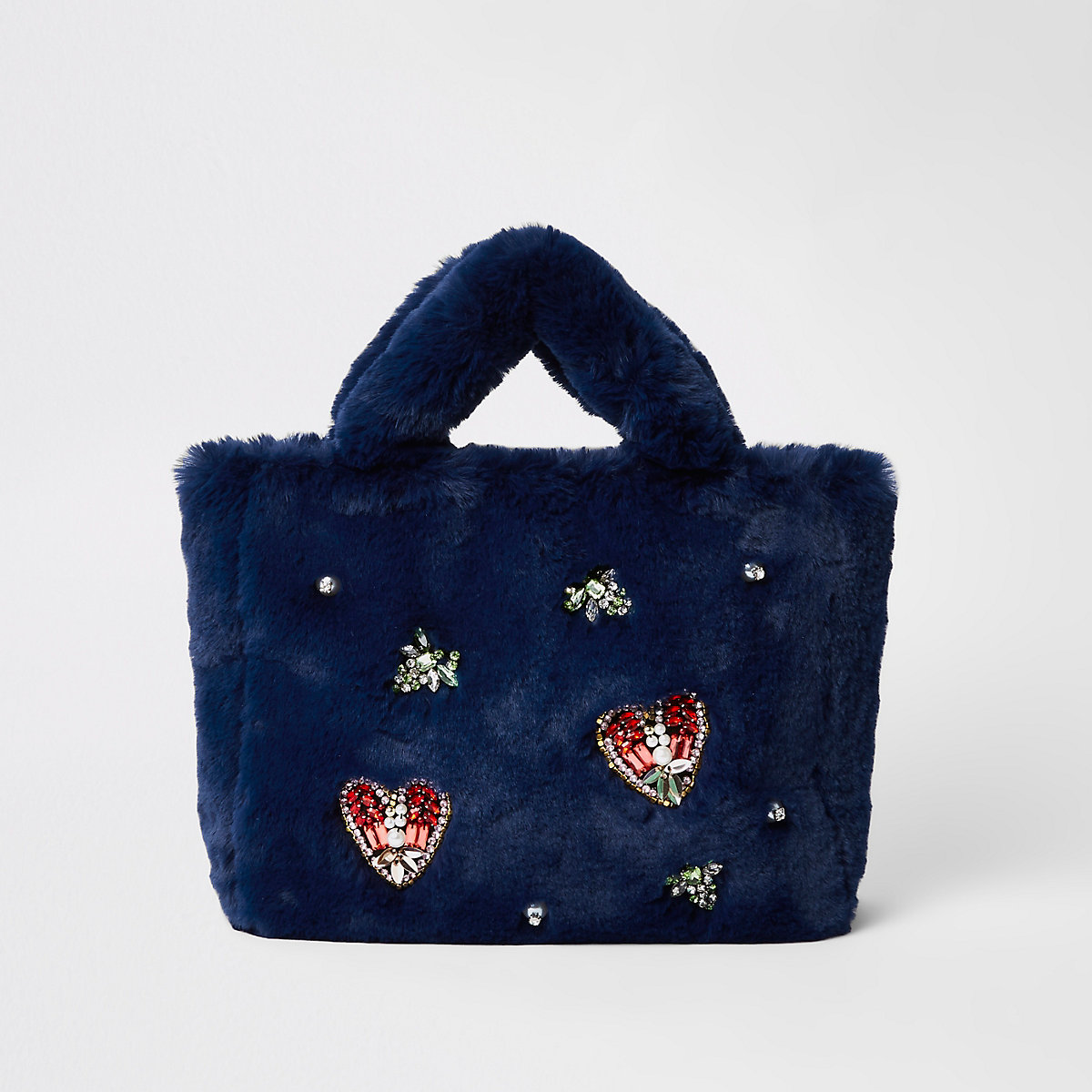 Navy faux fur jewel embellished shopper bag
