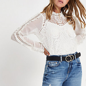 Petite cream lace frill sleeve top