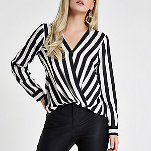 Petite black stripe tuck front blouse