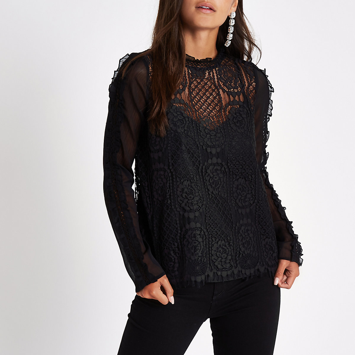 Petite black frill sleeve lace top