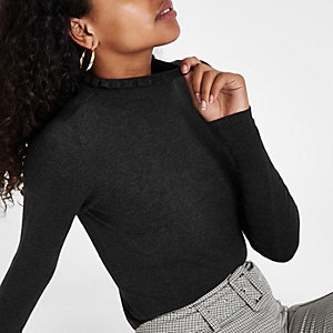 Dark grey frill neck long sleeve turtleneck