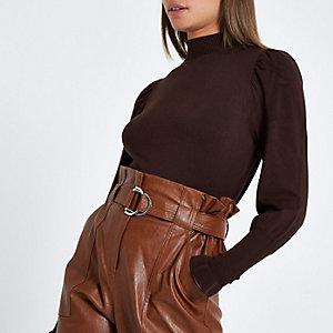 Bruine pullover met col en lange mouwen