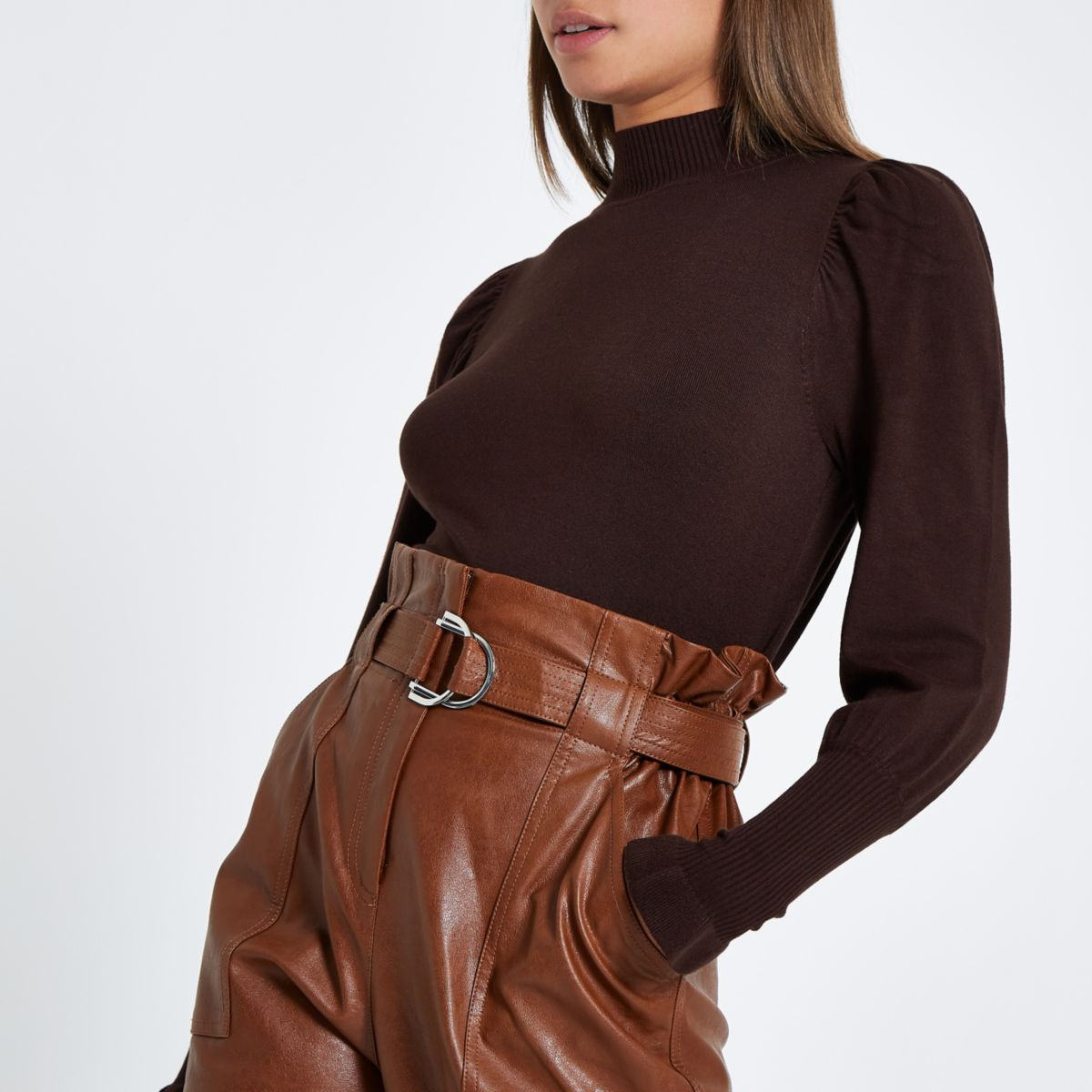 Brown turtle neck long sleeve sweater