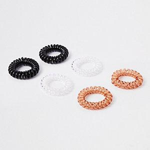 Black spiral hair tie pack
