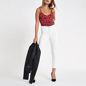 Petite red leopard print bodysuit