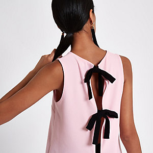 Pink bow back top
