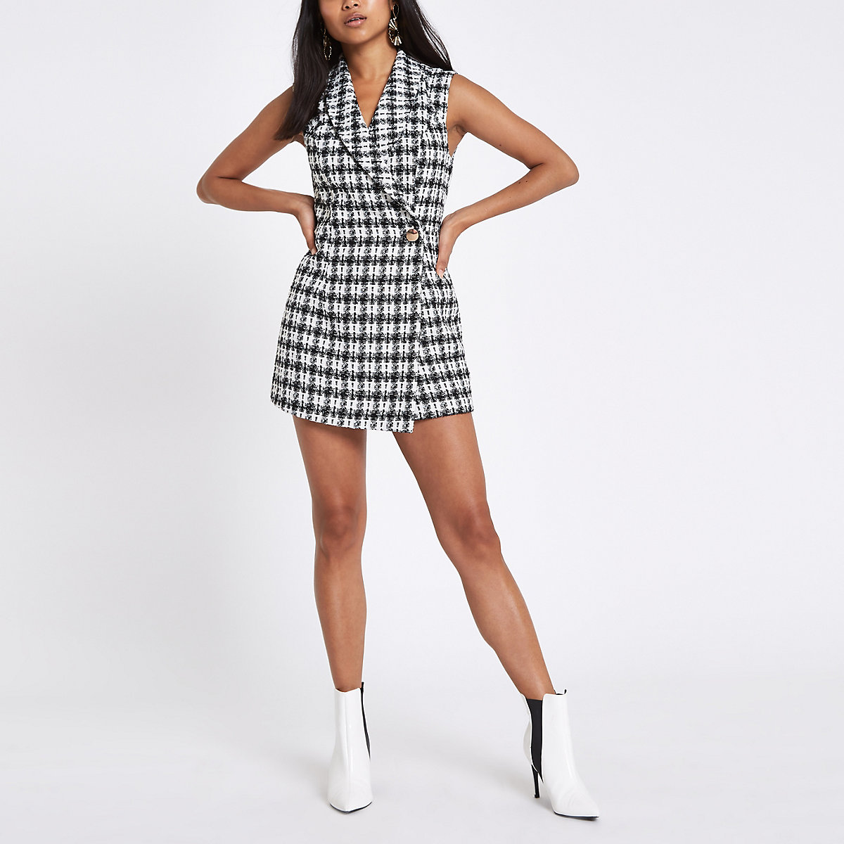 Petite black check tux sleeveless playsuit
