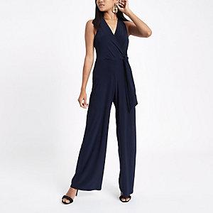 RI Petite - Marineblauwe jumpsuit met halternek en strik voor