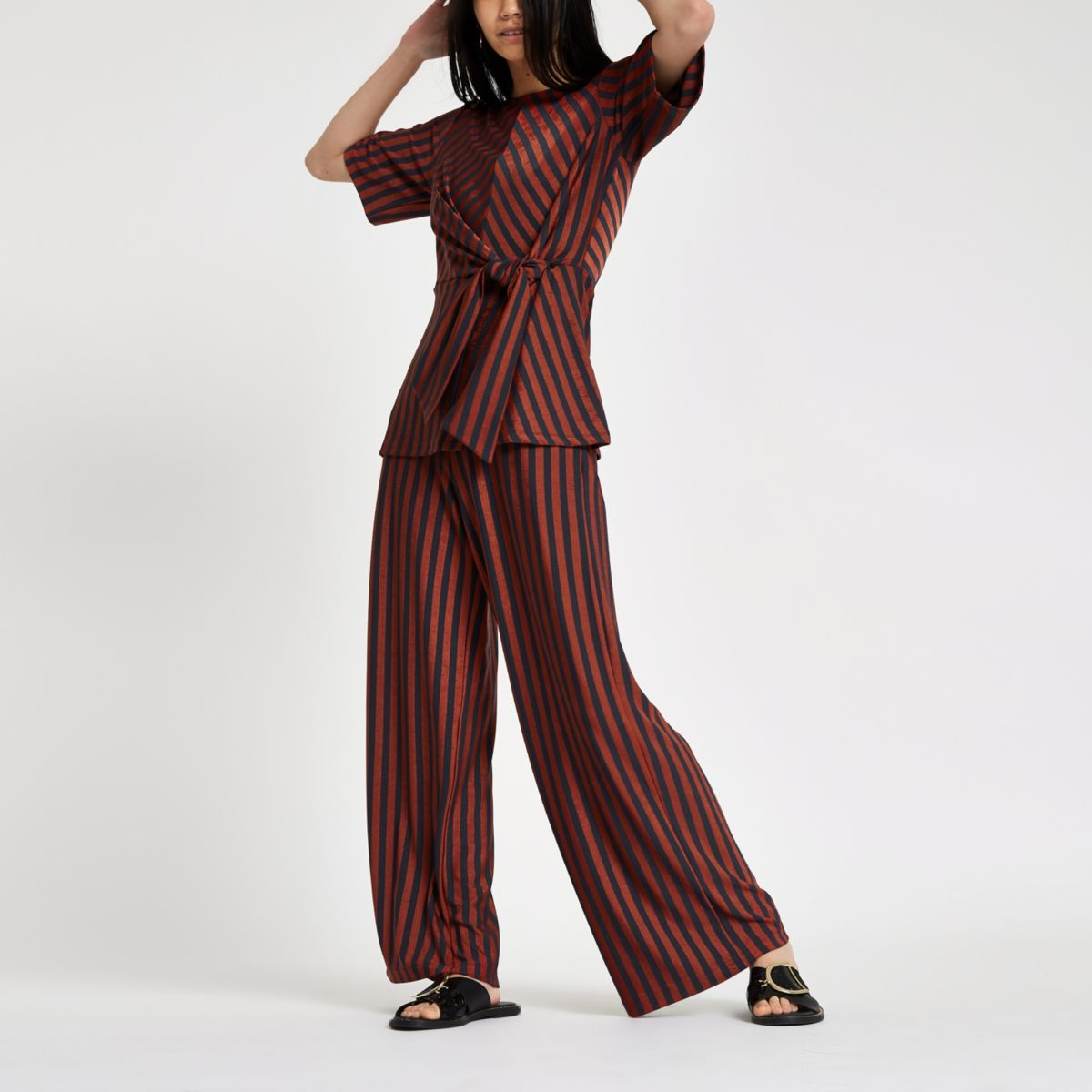 Brown stripe wide leg trousers