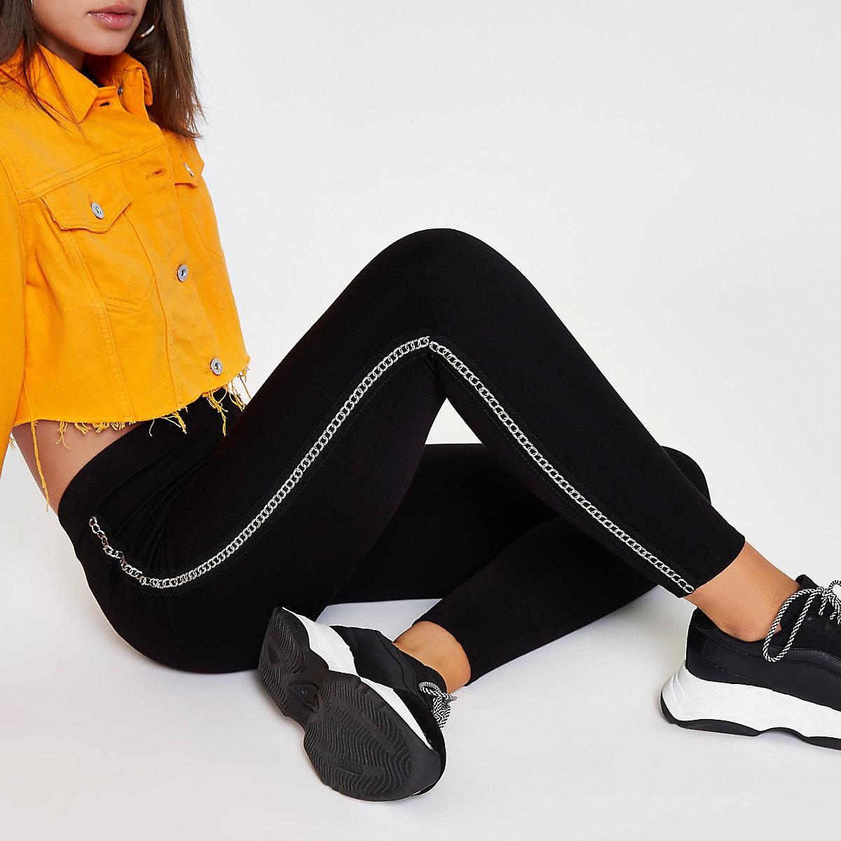 Black chain side trim leggings