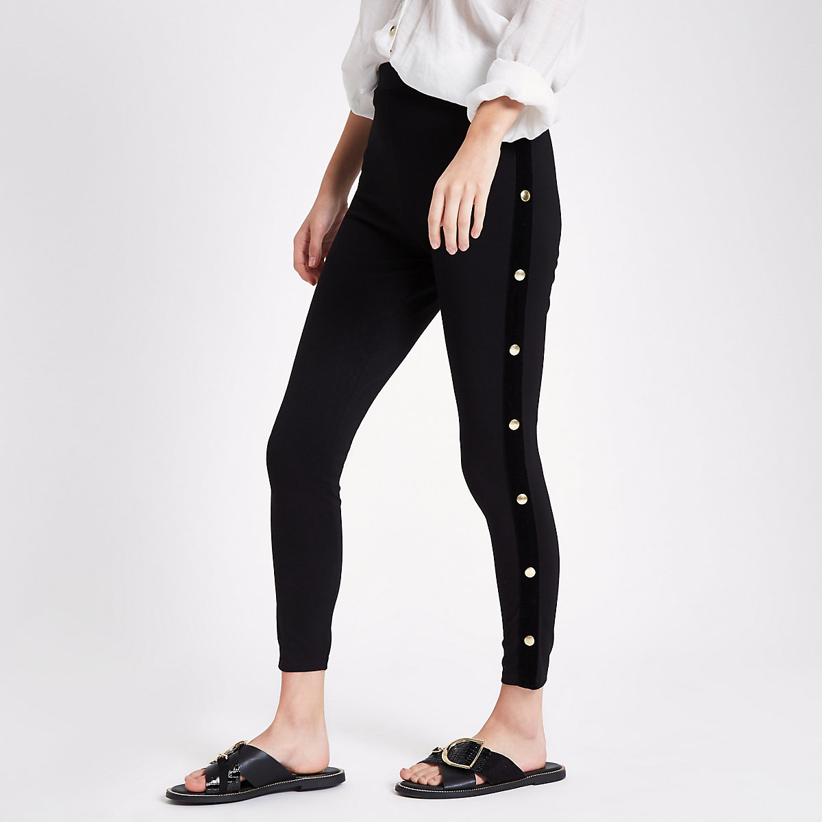 Black popper side leggings