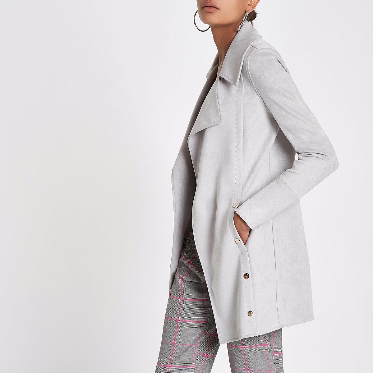 Grey longline popper side fallaway jacket