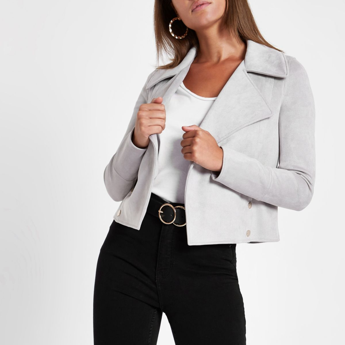 Grey faux suede popper side fallaway jacket