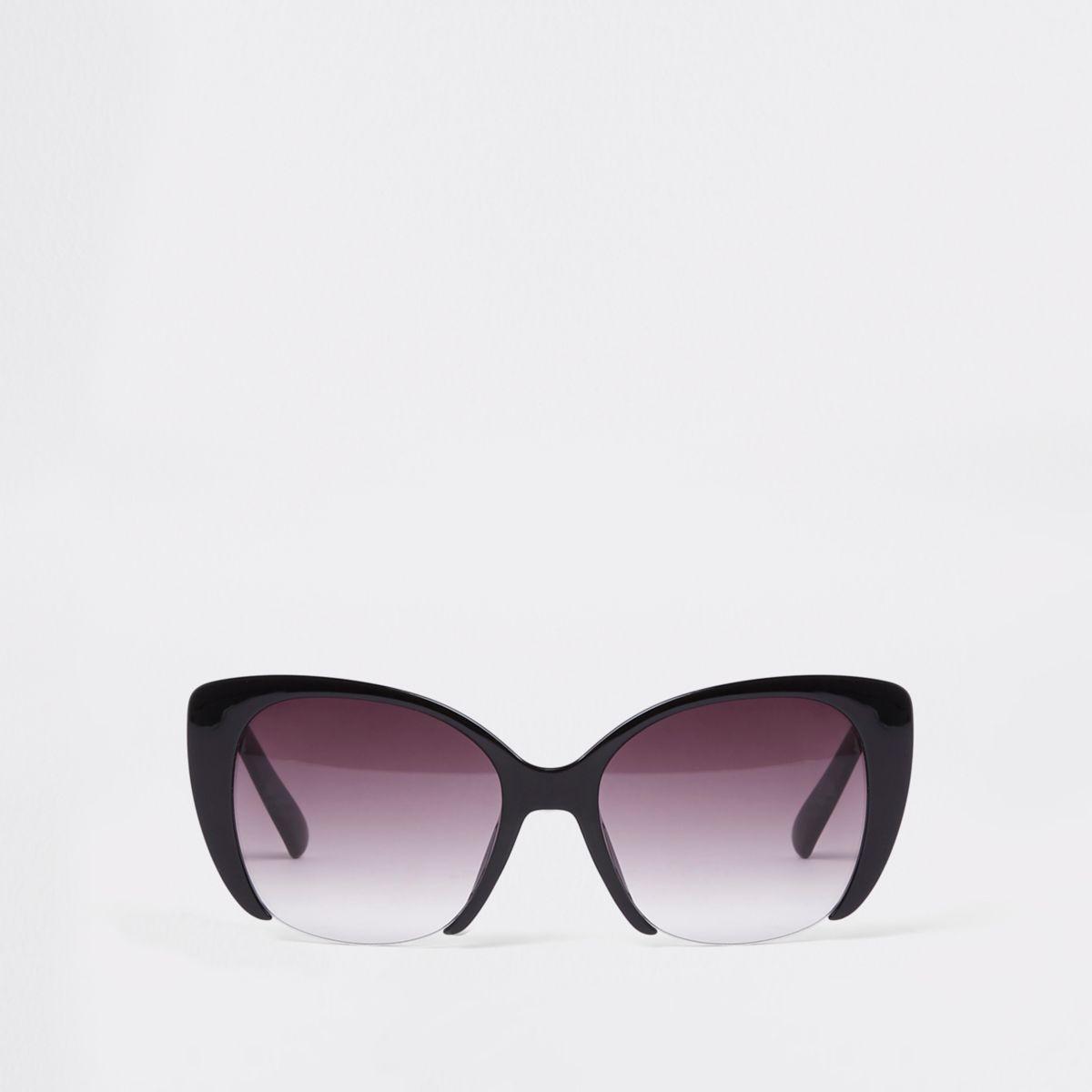 Zwarte glamoureuze zonnebril met glazen met uitsnede