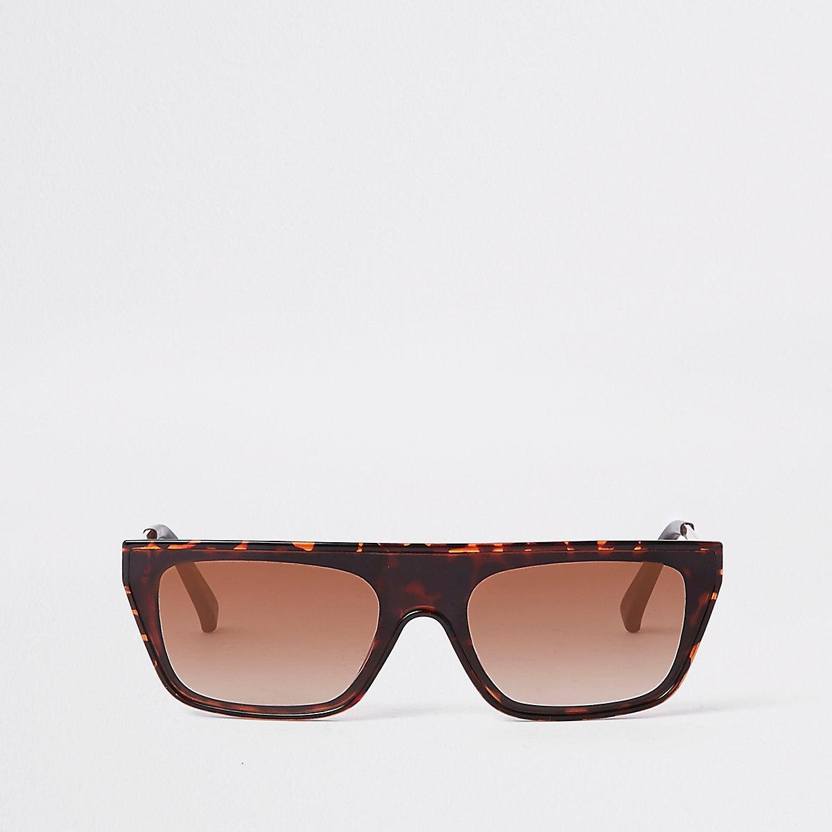 Bruine zonnebril met print en platte bovenkant