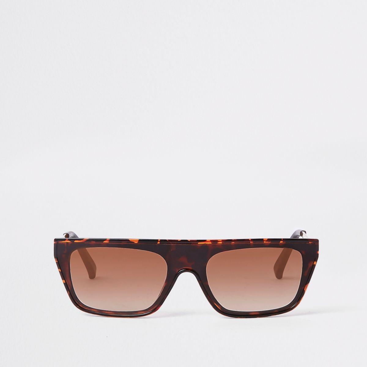 Brown print flat top sunglasses
