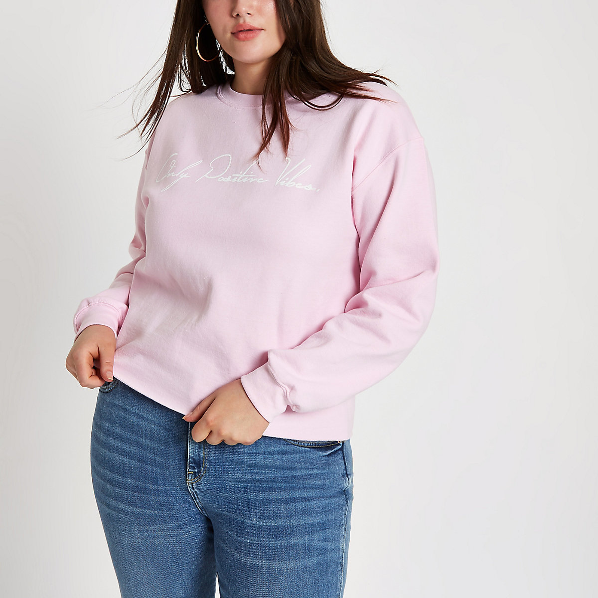 Plus pink 'Only positive vibes' sweatshirt