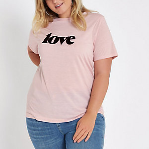 Plus pink 'love' print T-shirt