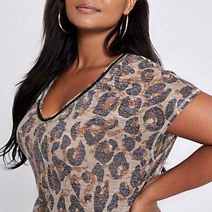 Plus – T-shirt imprimé marron à col orné