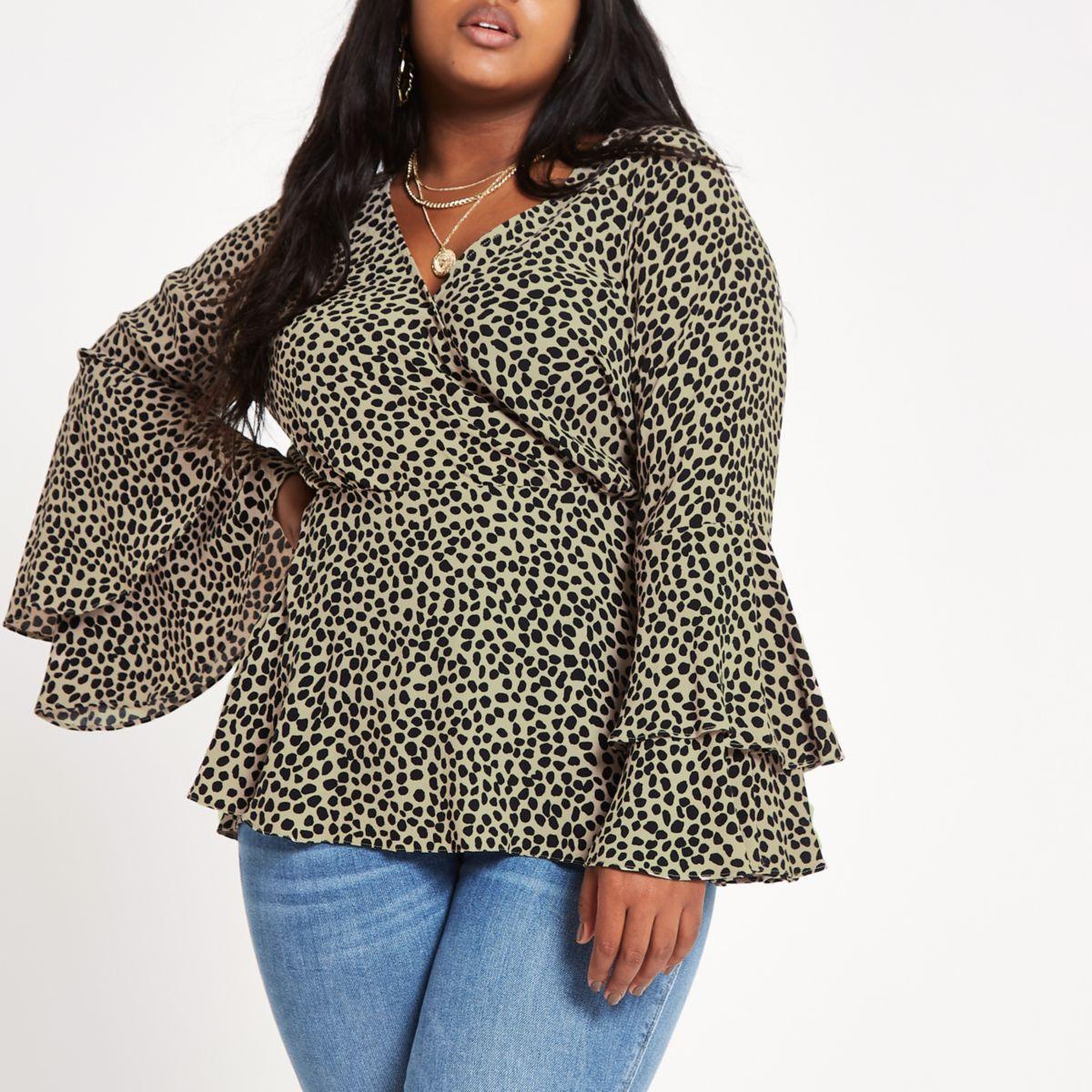 Plus brown print flute sleeve wrap blouse