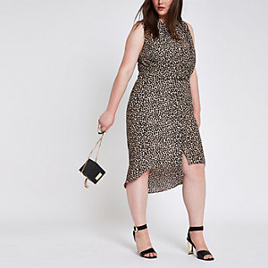 Plus leopard print twist front shirt dress